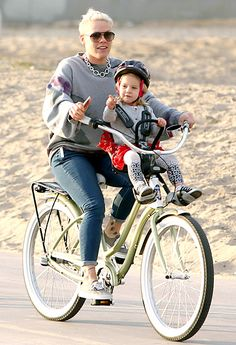 Girls on the go! Pink takes her daughter Willow for a spin by the beach on Jan. 28