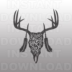 Deer Skull Flourish SVG FileDeer Head SVG FileHunting