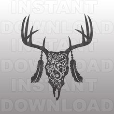 Deer Skull Flourish SVG FileDeer Head SVG FileHunting
