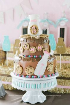 Cake at a Milk and Cookies Party #milkcookies #partycake