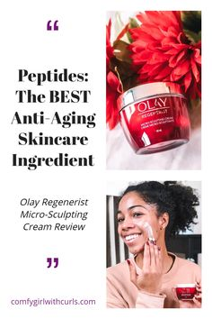 Are you using skin care products with peptides in them? You really should be as they are the best anti-aging skincare ingredient. I've partnered with Olay to help you understand what are the benefits of  this valuable ingredient in their Olay Regenerist Micro- Sculpting Cream . #Skincare #Skincareproduct #antiaging