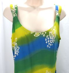 Bali Apparel M Blue Yellow Green Marine Fish Sea Rayon Sleeveless Sun Dress #BaliApparel #Sundress #SummerBeach
