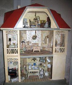 Gottschalk Red Roof Antique Doll House c.1910