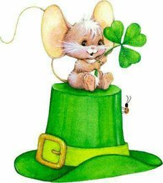 Patrick's Day mouse on hat. Saint Patricks Day Art, Happy St Patricks Day, St Patricks Day Clipart, St Patrick's Day Crafts, Cute Clipart, Irish Blessing, St Paddys Day, Luck Of The Irish, Animal Cards