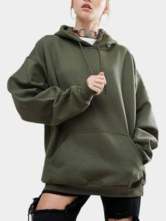 Army-green Front Pouch Pocket Design Loose Hooded Hoodies & Sweatshirts