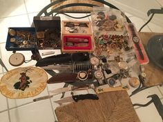 Nice Vintage Junk Drawer lot Mens Ladies Jewelry Watches Knives as is Great