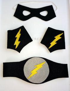 Superhero Mask Belt Arm Cuffs  superhero birthday by CRDCcreations