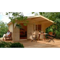 """If you have enough space in your backyard and want pay more for """"PLAYHOUSE"""" . of course in your backyard, this Allwood Kit Cabin will be The Best choice for you. Tiny House Kits, Buy A Tiny House, Best Tiny House, Tiny House Living, Prefab Cabins, Tiny Cabins, Log Cabins, Log Cabin Kits, Villa"""