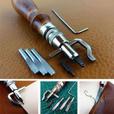 7 in 1 Adjustable Stitching Groover Crease Leather Tools Lot DIY Leather Set Kit for sale online Sewing Leather, Leather Pattern, Leather Apron, Stitching Leather, Leather Tooling, Leather Carving, Leather Wallet, Leather Bags, Diy Leather Craft Tools