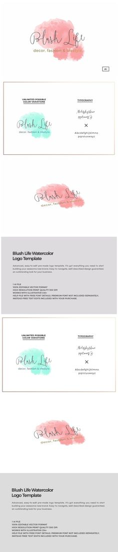 Blush Life Watercolor Logo Template. Wedding Fonts. $30.00