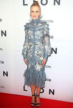 Nicole Kidman in a blue lace Erdem midi dress
