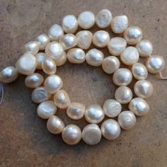 Flat Sided White Pearls, freshwater pearls, 16 inch strand, 9 mm approx. by marketplacebeads on Etsy