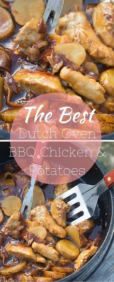 Oven BBQ Chicken and Potatoes This is the BEST dutch oven BBQ chicken and potatoes recipe out there. Perfect for summer campouts!This is the BEST dutch oven BBQ chicken and potatoes recipe out there. Perfect for summer campouts! Oven Chicken And Potatoes, Dutch Oven Chicken, Bbq Chicken, Dutch Oven Potatoes, Chicken Curry, Chicken Bacon, Oven Cooking, Cooking Recipes, Camping Cooking