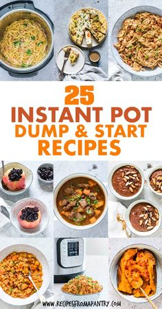 25 awesome tried and tested Dump Instant Pot Recipes that you just dump in the Instant Pot, press start and leave. Instant Pot Dump and Start Recipes. Easy Potluck Recipes, Pork Recipes For Dinner, Instant Pot Dinner Recipes, Lunch Recipes, Appetizer Recipes, Chicken Recipes, Dump Recipes, Summer Recipes, Drink Recipes