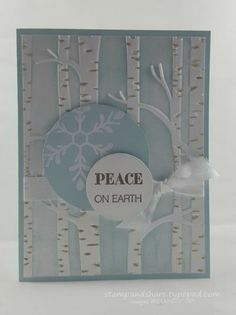 Woodland Peace Card made with the Woodland Textured Impressions Embossing Folder in the Stampin' Up! Holiday catalog. I brayered the folder with Soft Sky before embossing the card cardstock. Check out my blog for more details.