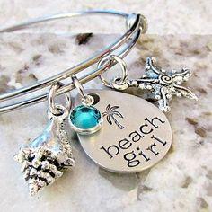 Buy Beach Girl Bangle Bracelet, Hand Stamped Palm Tree, Starfish, Shell, Cruise Jewelry by Lily Brooke Vintage on OpenSky Beach Jewelry, Jewelry Box, Silver Jewelry, Jewelry Accessories, Jewelry Making, Silver Rings, Feet Jewelry, Jewelry Storage, Girls Jewelry
