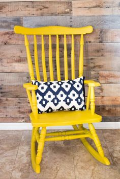 Making over furniture is so easy with the HomeRight Finish Max! This rocking chair looks gorgeous in this yellow color! #RockingChair