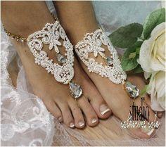 barefoot sandals, beach, barefoot sandle, wedding, rhinestones, barefoot sandal, foot jewelry, bridal, ROMANTIC gold rhinestone ivory lace | BF30