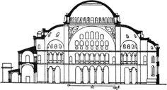 Anthemius of Tralles and Isidoros of Miletus (designers/builders) Hagia Sophia, Constantinople, 532-537, exterior, interior, ground plan, elevation
