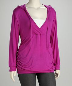 Look what I found on #zulily! Magenta Ruched Plus-Size Hooded Top #zulilyfinds