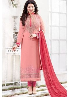 couleur rose georgette churidar costume, - 88,00 € #TenueBollywood #ChuridarPasCher #CostumeIndien2016 #Shopkund