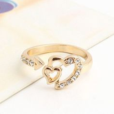 Hot Sale Rhinestoned Heart Shape Alloy Ring For Women, AS THE PICTURE, ONE SIZE in Rings | DressLily.com