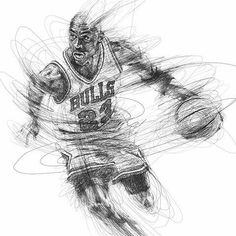 Michael Jordan sketch by artist @vince_low #michaeljordan #nba #chicagobulls #theartisthemotive . by worldofpencils