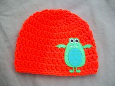 Neon Orange Crochet Hat with Green Monster by AngieHallHaviland, $13.00