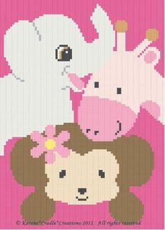 Crochet Patterns-SAFARI ANIMALS-Monkey/Elephant/Giraffe Baby GIRL AFGHAN PATTERN