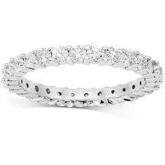 This elegant womens diamond eternity band is crafted in highly polished 14K White Gold. The frame is prong set with small round cut diamonds which are G in color and VS in clarity. The frame measures to 1/8 Inches in width and weighs approximately 2.6 grams. This one of a kind womens diamond eternity band is an ideal gift for that special day. $1,690.00