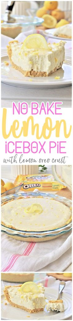 No Bake Lemon Oreo Crust Lemon Cheesecake Icebox Pie Easy, Quick and Yummy Dessert Recipe - perfect for Mother's Day Brunch and Easter Dinners or any Spring or Summer Dinner or Holiday Party via Dreaming in DIY #lemoniceboxpie #nobakelemoncheesecake #nobakecheesecake #nobakedesserts #lemondesserts #easydesserts #easylemondesserts #easter #mothersdaydesserts #easterdesserts #springdesserts #summerdesserts #lemonpie