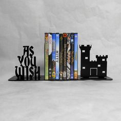As You Wish Metal Bookends.  Popular line from the movie  The Princess Bride  Made from heavy steel sheet. They will hold your collection of
