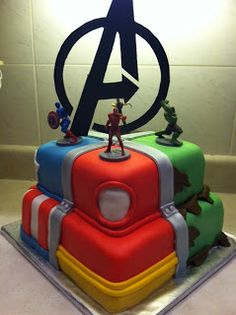 Avenger's cake!  Captain America, Iron Man, and Hulk