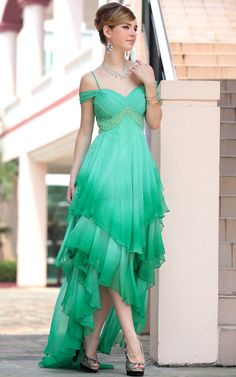 Green Off-the-shoulder High-low Semi-formal Dress