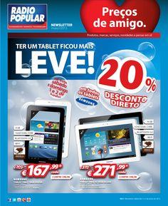Newsletter - 20% Desconto direto em todos os tablets Samsung. Só sábado e domingo!  http://www.radiopopular.pt/newsletter/2013/57/