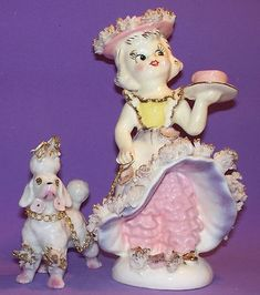 Vintage Lipper & Mann Girl Holding Cake With Spaghetti Trim Poodle | #443793292