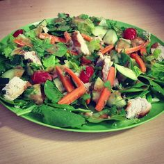 Thai peanut chicken salad!    - 2 cups of: spinach,   romaine lettuce  - 4oz of grilled chicken   -sliced carrot sticks (5)  -cherry tomatoes (8)  -zucchini (1/4)  -cucumber, seedless (1/4)   -2 tbsp chopped cilantro     Dressing:   -1 tbsp. of natural peanut butter   -1/2 tsp. low sodium soy Sauce  -1 1/2 tbsp. of water   - 1/2 tsp. of agave     Took about 10 minutes to prepare because I had my chicken grilled prior! ❤    #dormlife #quickmeals #healthylunch #peanutbutterlovers