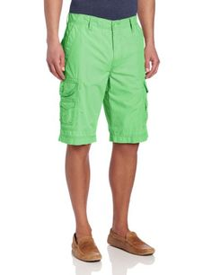 Calvin Klein Jeans Mens Solid Cargo Short, Fresh Green, 40