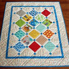Cute Baby Quilt with Lattice and Cornerstones On Point - Pattern Free