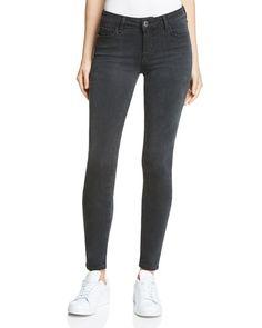Hidden Mid Rise Skinny Jeans in Dark Grey