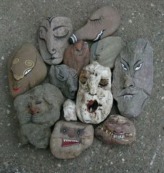 Painted faces - rocks