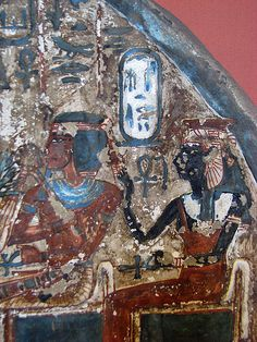 """""""Painted stele of the 'Artisan of the Royal Tombs', Irynefer and his family. On the right: the Divine Amenhotep I and his mother Ahmose-Nefertari. From Deir el-Medina, Dynasty XVIII-XIX. (via Stele of. Ancient Egyptian Art, Ancient Aliens, Ancient History, Egyptian Artwork, Egyptian Mythology, Ancient Greece, African History, African Art, Tempera"""