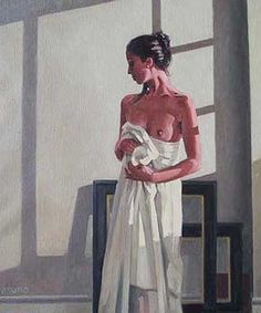 Jack Vettriano Model in White Oil on canvas 24 x 20 inches