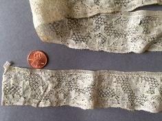 18th C. Mechlin bobbin lace with snow ground edging yardage COLLECTOR