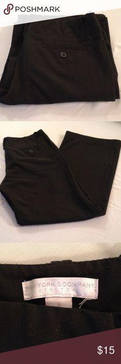 "New York & Co Black dress pants Black stretch dress or casual pants. Waistline 31"", inseam 28 1/2, to crotch 8"". New York & Company Pants Trousers"