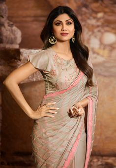 Shilpa shetty taupe saree with taupe designer frill sleeves blouse New Saree Blouse Designs, Blouse Designs High Neck, Blouse Designs Catalogue, Fancy Blouse Designs, Bridal Blouse Designs, Sari Design, Designer Kurtis, Designer Sarees, Sleeves Designs For Dresses