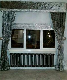 Crushed velvet pelmet & curtains