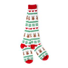outfit idea's to wear on xmas Holiday Reindeer Fair Isle Knee Socks | Claire's