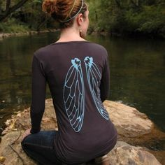 Custom listing for Rachel - Cicada Wings- earth coal organic cotton long sleeve scoop neck shirt for women Quirky Fashion, Steampunk Costume, Clothes Crafts, Large Women, Beautiful Outfits, Dragonfly Wings, Butterfly Wings, Bat Wings, Angel Wings