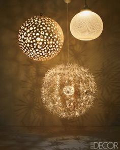 From left: Annika chandelier by Oly, PS Maskros pendant lamp by IKEA, and Non-Random light by Bertjan Pot for Moooi.